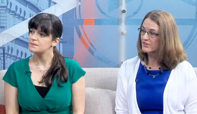 Patricia Cetin and Clarion Mendes on the TV set of WCIA