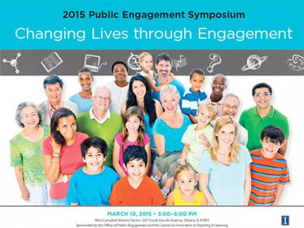 20 people of all ages, genders with text: Changing Lives Through engagement